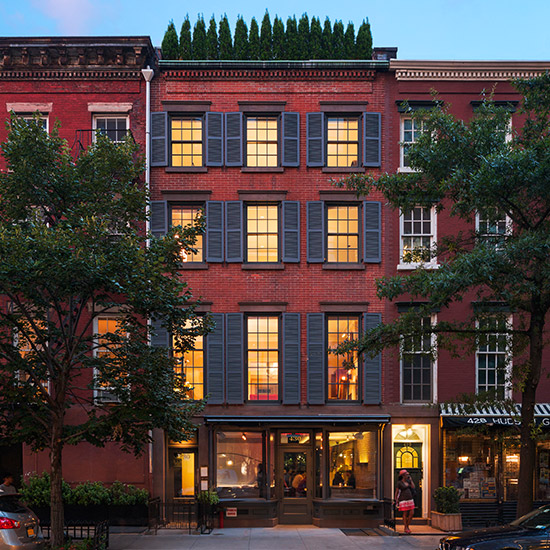 A historic mixed-use townhouse comprised of a restaurant and residential units is renovated and enlarged to add functionality, openness, and green space.