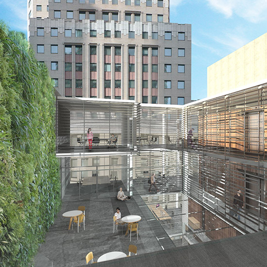 A feasibility study for an expanding NYC financial firm evaluated ground-up construction of a new modern office building designed around a green, open interior.