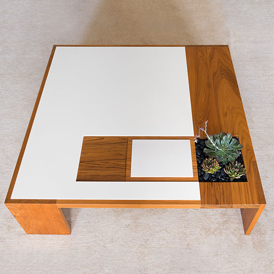 The Hugo Coffee Table Custom is the largest in a series of hand-crafted, adaptable tables that can be activated by optional components to suit different life-styles.