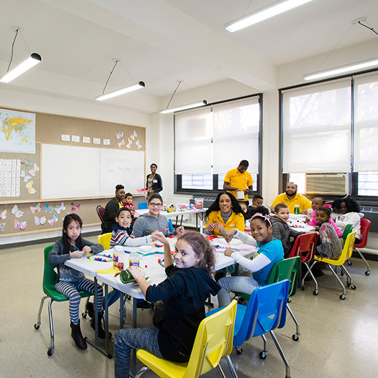 The renovation of this non-profit organization's heavily used multi-purpose classrooms provide students and teachers with brighter, healthier, and adaptable environments.