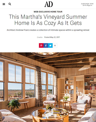 "Architectural Digest - ""This Martha's Vineyard Summer Home Is As Cozy As It Gets"""