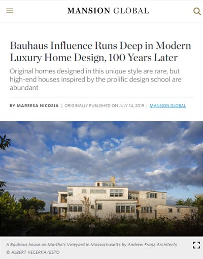 "Mansion Global - ""Bauhaus Influence Runs Deep in Modern Luxury Home Design, 100 Years Later"""